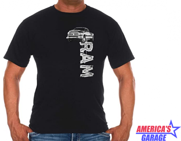 Black Ram Trucks Front Graphic T-Shirt Medium S/M/L RAM803DST5BLK-MD