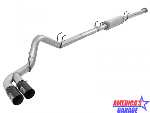 Ford F-250,F-350 2017-2019 V8-6.7L Rebel XD Series 4inch 409 Stainless Steel Down Pipe Back Exhaust System w/Dual Black Tips aFe 49-43096-B