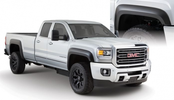 Black Extend-A-Fender Style Smooth Finish 4-Piece Fender Flare Set for 2015-2018 GMC Sierra 2500 HD, 3500 HD 40966-02